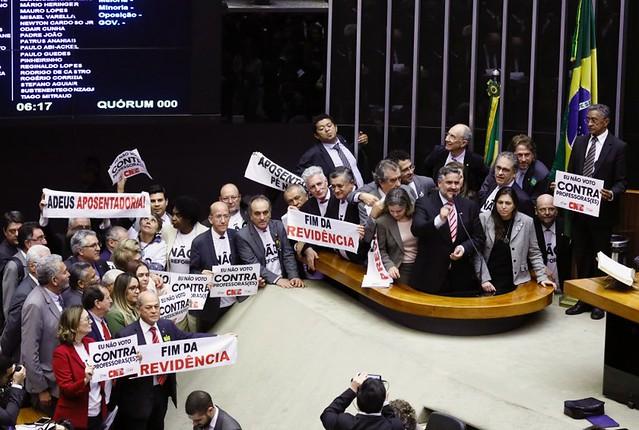 Parlamentares no plenário da Câmara dos Deputados durante sessão que aprovou reforma da Previdência em primeiro turno - Créditos: Luis Macedo/Câmara dos Deputados