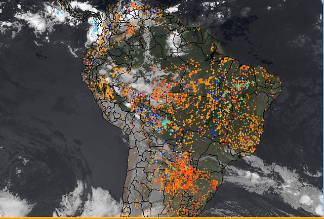 Satélite do Inpe mostra os pontos de focos de incêndio no último dia 2 de setembro - Créditos: Reprodução| Inpe